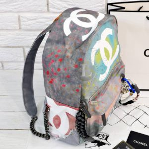 Replica Chanel Graffiti Printed Canvas Backpack