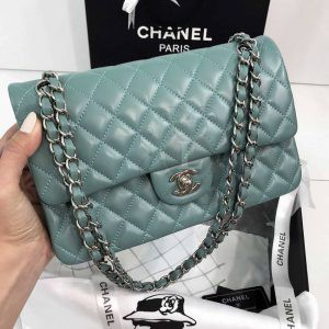 Replica Medium Classic Double Flap Bag Tiffany Blue