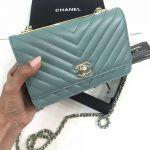 Replica Chanel Chevron Trendy CC WOC Tiffany Blue