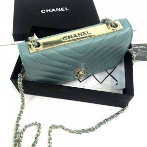 Replica Chanel Chevron Trendy CC WOC Tiffany Blue