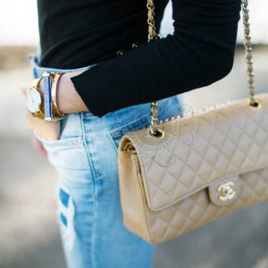 Replica Chanel Medium Caviar Beige Bag