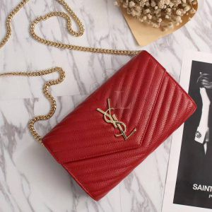 Replica YSL Envelope Chain Wallet Red