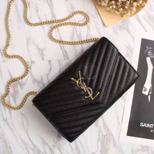 Replica YSL Envelope Chain Wallet Black