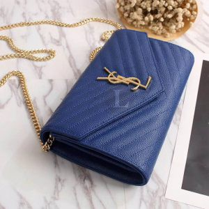 Replica YSL Envelope Chain Wallet Blue
