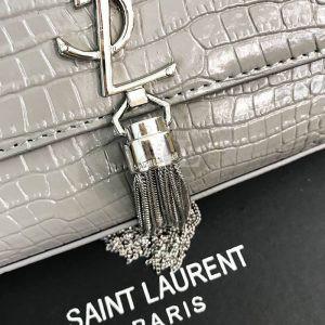 Replica YSL Saint Laurent Tassel Crocodile Grey