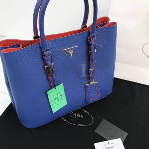 Replica Prada Cuir Double Bag Royal Blue